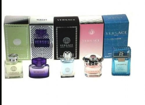Versace Travel Coffret Miniature 5 Piece Perfume Gift Set for Men & Women
